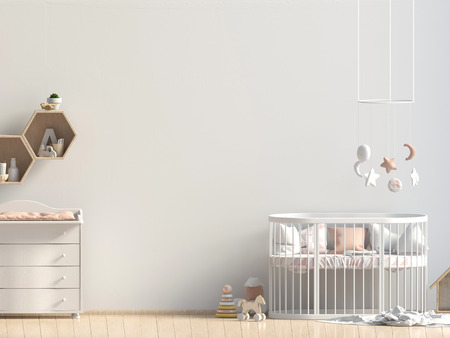 Interior of the childroom. sleeping place. 3d illustration. Mock up wall Stockfoto