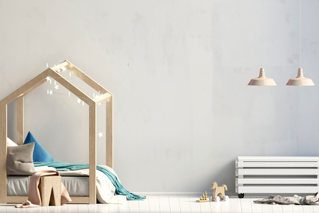 Interior of the childroom. sleeping place. 3d illustration. Mock up wall Stock Photo