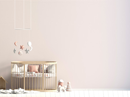 Interior of the childroom. sleeping place. 3d illustration. Mock up wall 스톡 콘텐츠