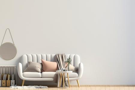 Interni moderni con tavolino e divano. Muro mock up. Illustrazione 3D Archivio Fotografico