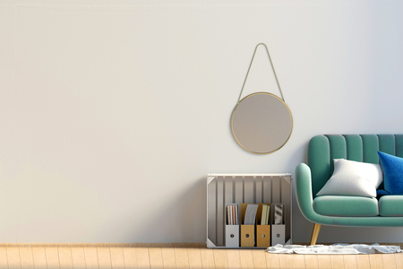Modern interior with storage box and sofa. Wall mock up. 3d illustration. Stock Photo