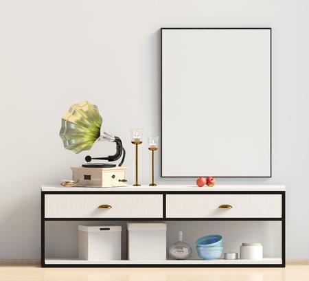 Modern interior design in Scandinavian style. Mock up poster. 3D illustration. Stock Photo