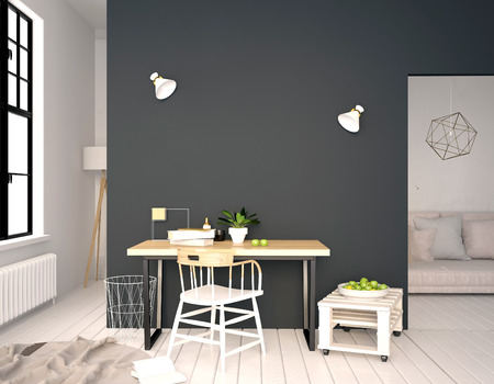 Modern interior, a place for study, consisting of working Desk and chair. 3D illustration. wall mock up