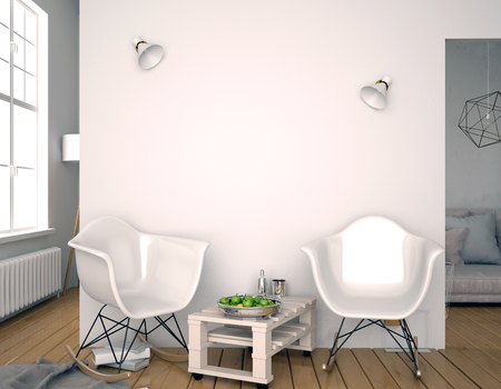 Modern interior with plastic chair. Wall mock up. 3d illustration. 版權商用圖片