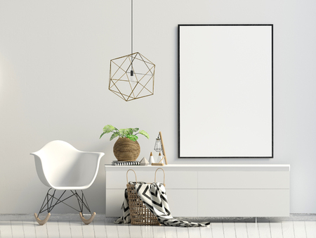 Modern interior with rack, plant and chair. Poster mock up. 3d illustration