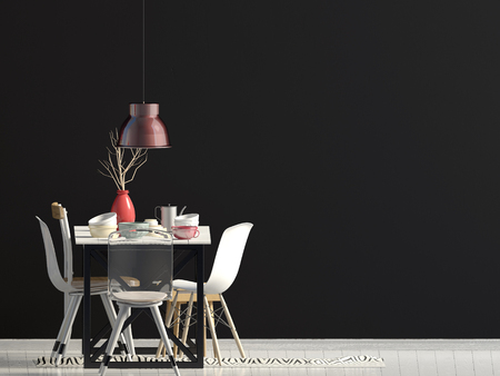 Mock up wall in interior with dining area. living room modern style. 3d illustration Stock Photo
