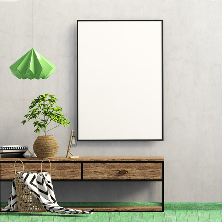 Modern interior with rack, plant and lamp. Poster mock up. 3d illustration Stock Photo