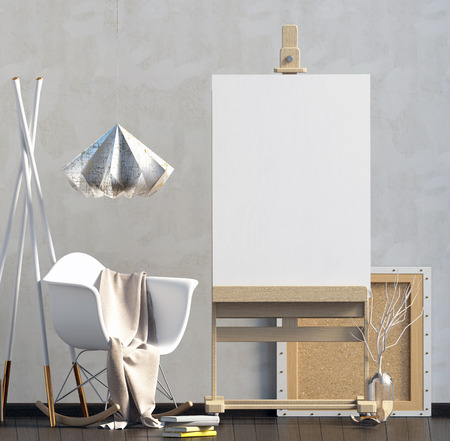 Modern interior design in Scandinavian style with chair and easel. Mock up poster. 3D illustration.