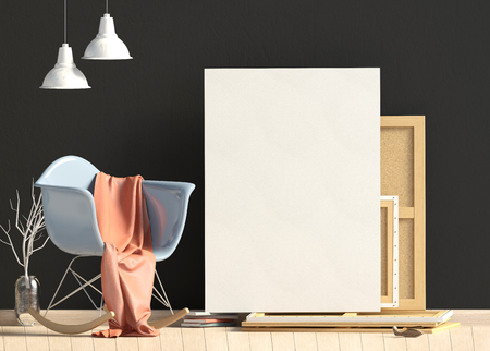 Modern interior design in Scandinavian style with chair and canvas. Mock up poster. 3D illustration.