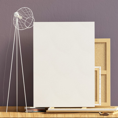 Modern interior design in Scandinavian style with lamp and canvas. Mock up poster. 3D illustration.