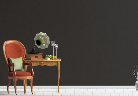 Classic interior with table and chair. Wall mock up. 3d illustration.