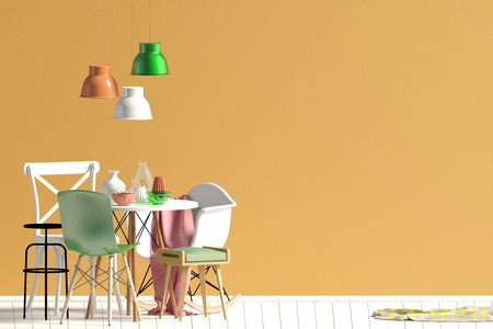 Mock up wall in interior with dining area. living room modern style. 3d illustration Stok Fotoğraf