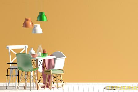Simulacros de pared en el interior con zona de comedor. Living de estilo moderno. Ilustración 3d