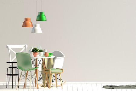 Mock up wall in interior with dining area. living room modern style. 3d illustration 写真素材