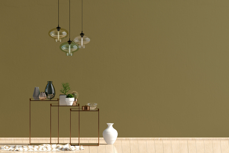 Modern interior with racking, decor and lamps. Wall mock up. 3D illustration