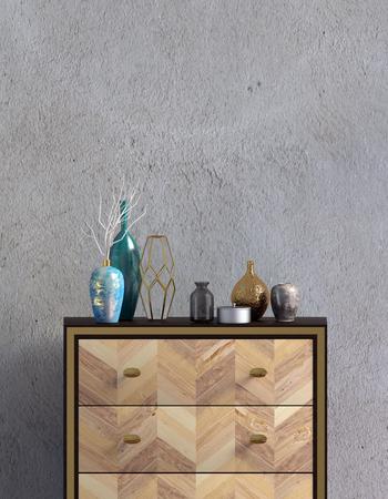 Interni moderni con cassettiera. Modello da parete. illustrazione 3D.