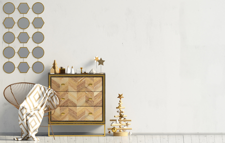 Modern Christmas interior with dresser, Scandinavian style. Wall mock up. 3D illustration