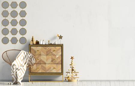 Modern Christmas interior with dresser, Scandinavian style. Wall mock up. 3D illustration