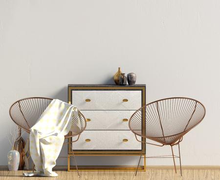 Modern interior with dresser. Wall mock up. 3d illustration. Zdjęcie Seryjne