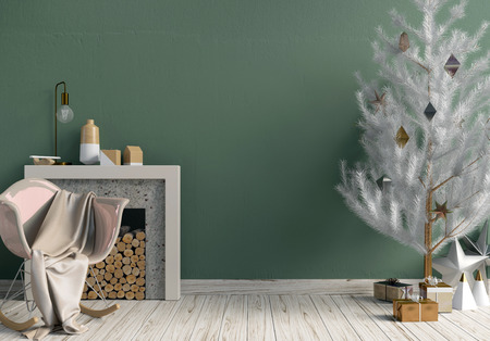 Modern shining Christmas interior with fireplace, Scandinavian style. Wall mock up. 3D illustration Stock Photo