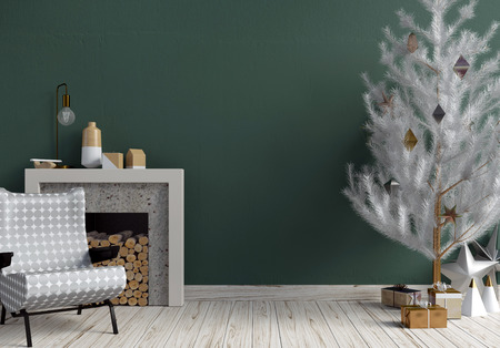 Modern shining Christmas interior with fireplace, Scandinavian style. Wall mock up. 3D illustration Stok Fotoğraf