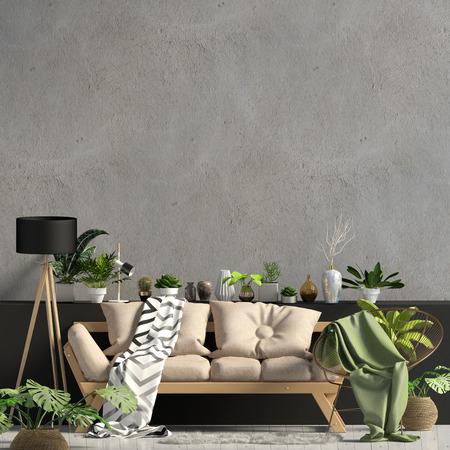 Interni moderni con divano. Wall mock up. Illustrazione 3D. Archivio Fotografico