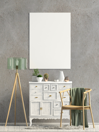 Modern interior with dresser. Poster mock up. 3d illustration. Reklamní fotografie