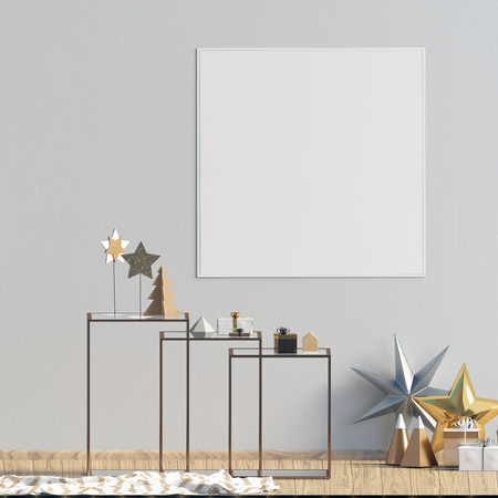 Modern Christmas interior with coffee table, Scandinavian style. Poster mock up. 3D illustration