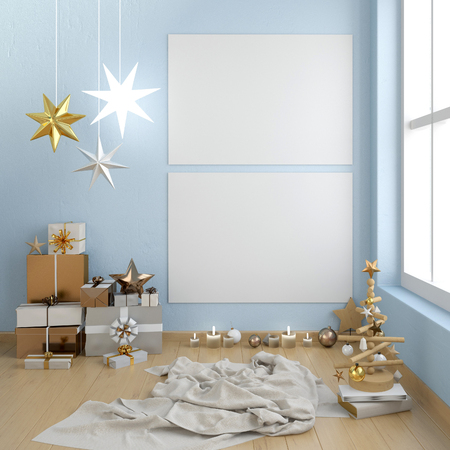 Modern Christmas interior, Scandinavian style. Poster  mock up. 3D illustration