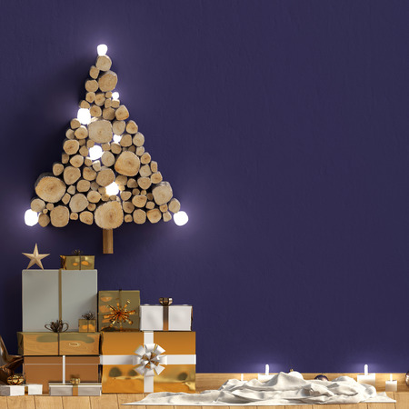 Modern shining Christmas interior, Scandinavian style. Wall mock up. 3D illustration Reklamní fotografie