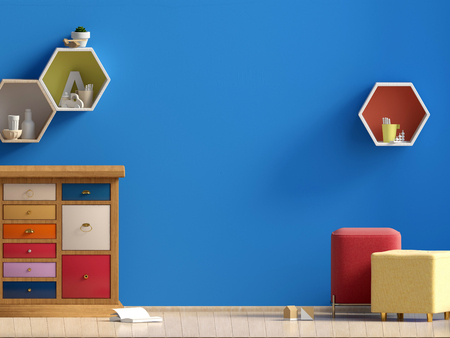 Pastel childs room. playroom. modern style. 3d illustration. Wall mock up