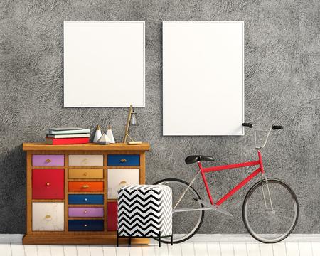 Modern interior with dresser. Poster mock up. 3d illustration. Zdjęcie Seryjne