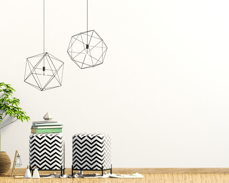 Modern interior with padded stool, decor and lamps. Wall mock up. 3D illustration Zdjęcie Seryjne