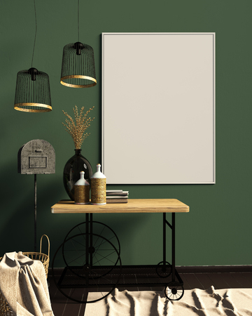 Iinterior design in country style. Mock up poster. 3D illustration. Zdjęcie Seryjne