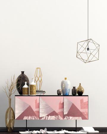 Iinterior design in contemporary style. Mock up wall. 3D illustration. Zdjęcie Seryjne - 118769628