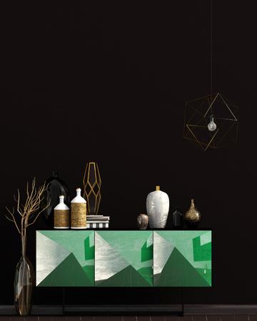 Iinterior design in contemporary style. Mock up wall. 3D illustration. Zdjęcie Seryjne - 118769629