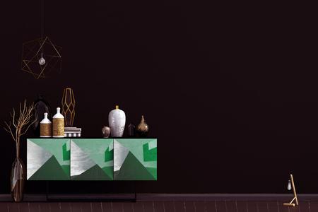 Iinterior design in contemporary style. Mock up wall. 3D illustration. Zdjęcie Seryjne - 118769630