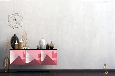 Iinterior design in contemporary style. Mock up wall. 3D illustration. Zdjęcie Seryjne - 118769631