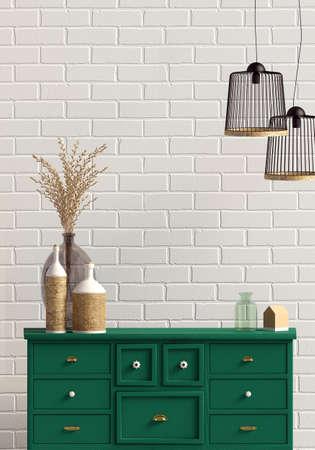 Modern interior with dresser. Wall mock up. 3d illustration. Banco de Imagens