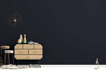 Modern interior with dresser. Wall mock up. 3d illustration. Reklamní fotografie