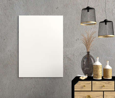 Interior design in country style. Mock up poster. 3D illustration.