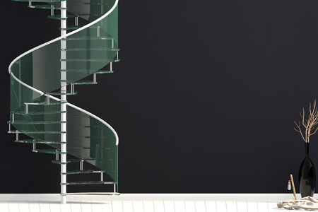 Modern interior with spiral staircase. 3d illustration. Mock up wall