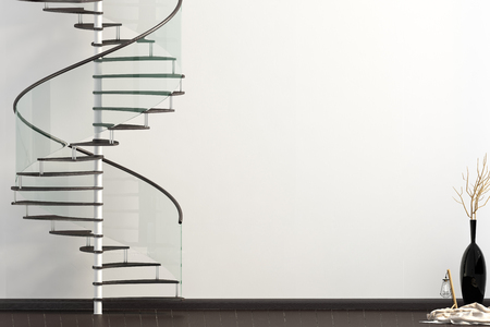Modern interior with spiral staircase. 3d illustration. Mock up wall Zdjęcie Seryjne - 118769791