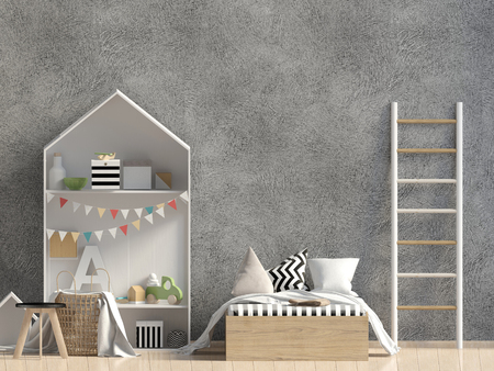 Mock up wall in interior of the child. sleeping place. modern style. 3d illustration