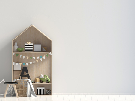 Mock up wall in interior of the child. modern style. 3d illustration