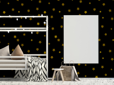 Mock up poster in interior of the child. sleeping place. modern style. 3d illustration Zdjęcie Seryjne