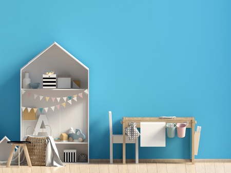 Pastel childs room. playroom. modern style. 3d illustration. Wall mock up