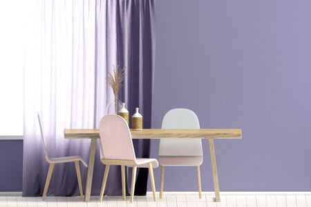 Mock up wall in interior with dining area. living room modern style. 3d illustration Zdjęcie Seryjne