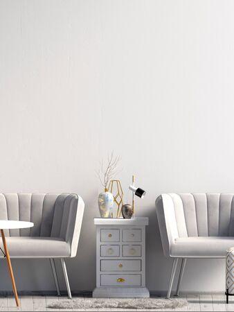 Modern interior with sofa. Poster mock up. 3d illustration.