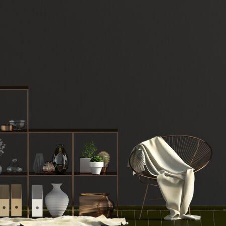 Iinterior design in contemporary style. Mock up wall. 3D illustration. Banco de Imagens - 136279191